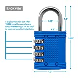 Padlock - 4 Digit Combination Lock for School, Employee, Gym & Sports Locker, Case, Toolbox, Fence, Hasp, Cabinet & Storage - Easy to Set Your Own Combo - Metal & Plated Steel - Weather Proof - Color Blue