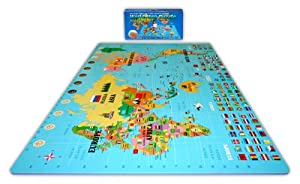 Play Learn Soft Safe 6x 6 X 4 World Map Foam Puzzle Floor Set from Alessco Inc.