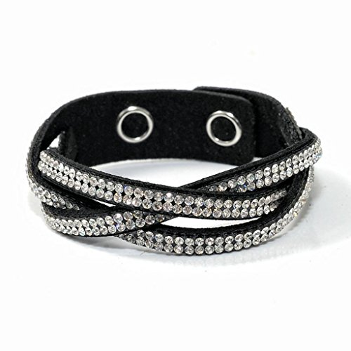 Blossom Forever Jewelry Black White Crisscross Fashion Sparkling Crystal Rhinestones Leather Wrap Bracelet Great For Gift