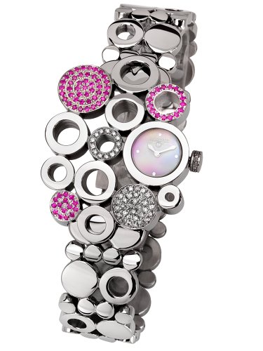 Swisstek Swisstek SK17749L Limited Edition Swiss Diamond Watch With Pink Sapphires, Mother-Of-Pearl Dial And Sapphire Crystal