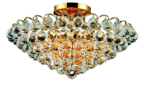 Elegant Lighting 2001F21G/RC Godiva 11-Inch High 9-Light Flush Mount, Gold Finish with Crystal (Clear) Royal Cut RC Crystal
