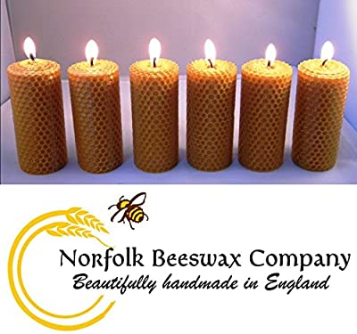 Norfolk Beeswax Company - 6 x Pure Natural Beeswax Candles - Free Delivery To All UK Postcodes from MCH Solutions UK