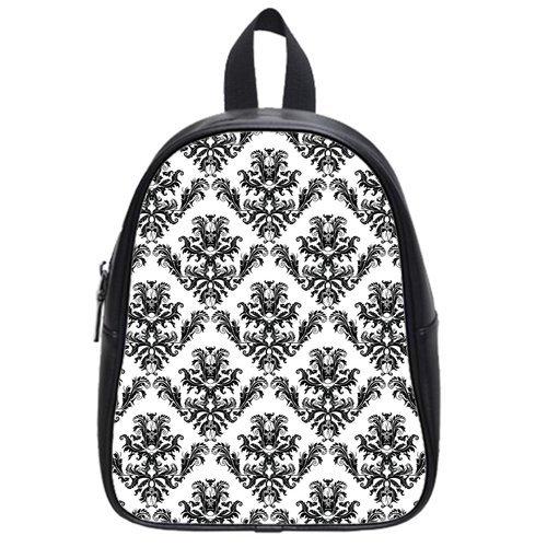 Atnee Unique Skull Damasks Design Black Backpack School Bag Satchel Size L