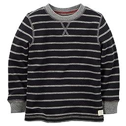 Carter\'s Little Boys\' Striped Thermal Shirt (6, Black)