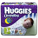 Huggies Overnites Jumbo Size 3, 31-Count (Pack of 4)