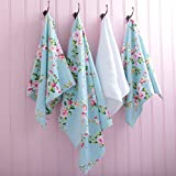 STUNNING SHABBY BLUE PINK ROSE CHIC 100% COTTON HAND TOWEL 50CM X 90CM