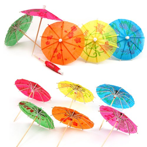 Accessotech 24 Mixed Paper Cocktail Umbrellas