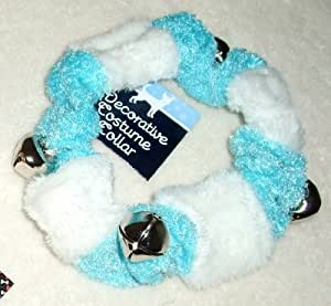 DOG JINGLE BELLS HOLIDAY COLLAR- Blue & White with Silver Sleigh Bells MEDIUM-LARGE