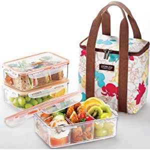 locknlock square bento lunch box set with insulated bag 3 tritan containers. Black Bedroom Furniture Sets. Home Design Ideas