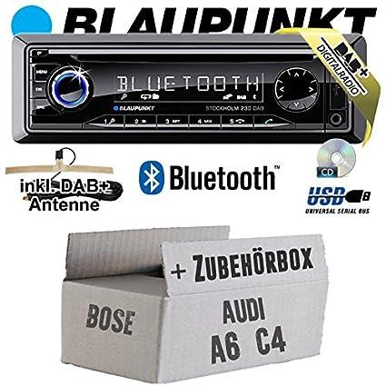 Audi A6 C4 Bose - BLAUPUNKT Stockholm 230 DAB - DAB+/CD/MP3/USB Autoradio inkl. Bluetooth - Einbauset