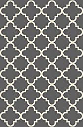 Anti-Bacterial Rubber Back AREA RUGS Non-Skid/Slip 3x5 Floor Rug | Grey Trellis Indoor/Outdoor Thin Low Profile Living Room Kitchen Hallways Home Decorative Traditional Rug