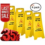 Tiger Chef Yellow Wet Floor Caution Sign, 2-sided Fold-out, Floor Safety Sign, Caution Wet Floor 24-inch By 12-inch Cuadado Piso Mojado