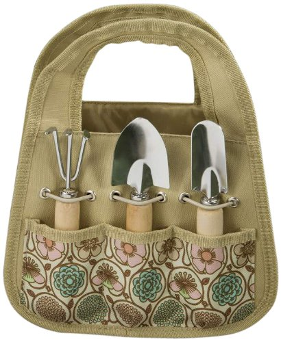 Gift Craft 8.7-Inch Tan Polyester Garden Tool Bag with Metal Tools with Wood Tree Wood Handles, Small, Set of 4