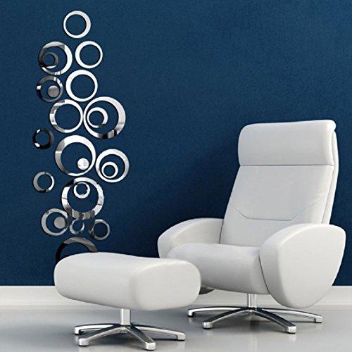 [해외]Ikevan 1set 아크릴 예술 현대 3D 거울 서클 벽 스티커 DIY 홈 벽 룸 장식 장식 소파 TV 벽 장식 이동식 벽 스티커 40X60cm/Ikevan 1Set Acrylic Art Modern 3D Mirro