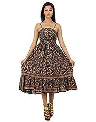 Beautiful Polyester Floral Dress Black Printed Medium For Women By Rajrang