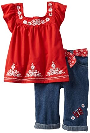 Young Hearts Little Girls' 2 Piece Butterfly Denim Capri Set, Red, 3T