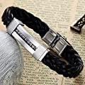 JXX Woven Leather Fashion Titanium Steel Diamond-encrusted Bracelet