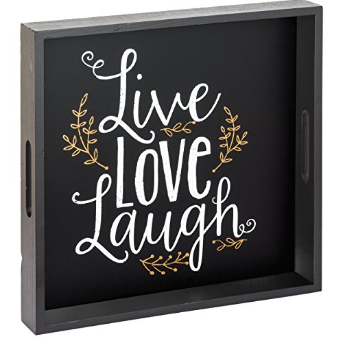 Prinz 11.75 X 11.75 Inch 'Live Love Laugh' Wood Tabletop Tray Plaque (Love Decor Tabletop compare prices)