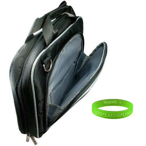 Newly Designed Stylish Black Messenger Bag For 17 Inch Asus Versatile (N73SV-A3 , K73E-A1 , A73E-XA1) + Vangoddy Live*Laugh*Love Wristband