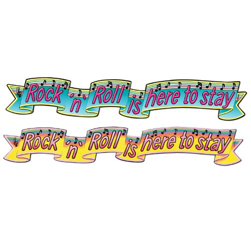 Beistle 55151 1-Pack Jointed Rock and Roll Banner, 6-Feet