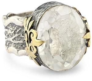 bora clear quartz flower ring size 7