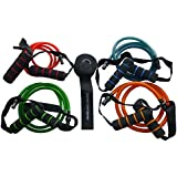 Resistance Bands with handles - Five piece set includes four different resistance bands and door anchor. A Complete Home Gym.