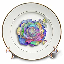 3dRose cp_210699_1 Pretty Multiple Colors Vintage Flower Graphic - Porcelain Plate, 8\