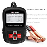 Foxwell BT100 12V Battery Load Tester 100-1100 Cold Cranking Amps Auto Battery Tester Analyzer Directly Detect Bad Cell Battery For CCA, BCI, CA, MCA, JIS, DIN, IEC, EN, SAE (Foxwell BT100)