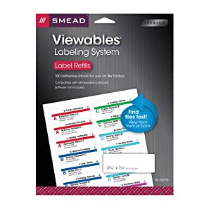 "Smead Viewables Color Labeling System Refill Pack, 3 7/16"" x 1 1/4"", White, 160 per Pack (64915)"