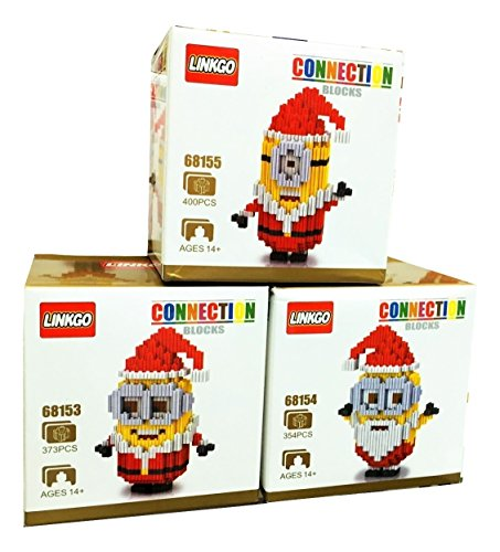 [Minions Gear Toys Christmas Decorations Tree Ornaments Diy Plush Doll Figure Santa Claus Costume Cosplay Nanoblocks Nano Bricks Movie Party Supplies Lot 3 Building Block Sets Gift with Original] (Giraffe Spotted Plush Toddler Costumes)