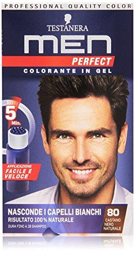 Testanera - Men Perfect, Colorante in Gel, 80 Castano Nero Naturale - 1 confezione