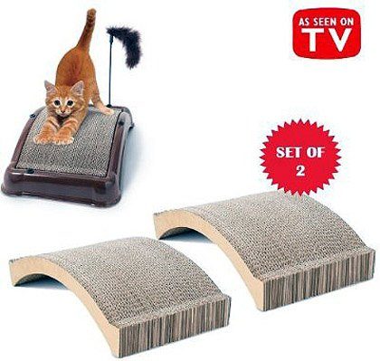 5, EMERY, CAT, BOARDS, and 1, EMERY CAT, BOARD REFILL, COMBO, SET, -AS SEEN ON TV-, Patented abrasive emery surface, Bonus furry play toy and catnip included, in, EMERY Cat Board, is, about, 18