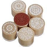 6 Assorted Wooden Rubber Stamp Round Handwriting Floral Flower Craft