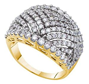 Pricegems 14K Yellow Gold Ladies Round Brilliant Diamond Pave Set Cocktail Right Hand Ring (2.01 cttw, H-I Color, ISI Clarity, Ring Size: 6.5)