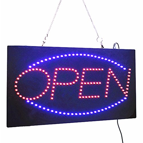 19-in Striking LED Open Neon Sign with 2 Light Modes Fixed / Flashing Animated Motion Running LED Business OPEN SIGN +On/Off Switch Bright Light Neon For Store Business Advertising billboard (Neon Signs Custom compare prices)