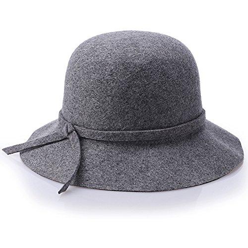 Cupola d'onda Hat hats ladies pura lana tessuto bouclé con colori solidi Hat fisherman Hat fashion cappelli,grigio misto
