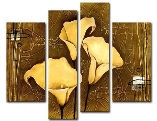Sangu 100% Like mad easily Painted Wood Framed Gentle Bending Flowers Home Decoration Modern Oil Paintings Gift on Canvas 4-break down Art Wall Decor Paintings For Living Room.