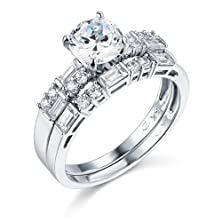 buy 14K White Gold Solid Engagement Ring And Wedding Band 2 Piece Set - Size 7