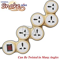6 OUTLET UNIVERSAL SNAKE POWER STRIP WITH CIRCUIT BREAKER DUAL POLE ILLUMINATED SWITCH 15 AMP