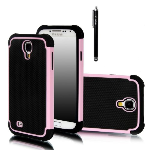 M-Zebra 2 In 1 Hybrid Dual Layer Armor Defender Protective Case Cover For Samsung Galaxy S4 I9500 , With Screen Protectors+Stylus (Black)+Cleaning Cloth (Pink)