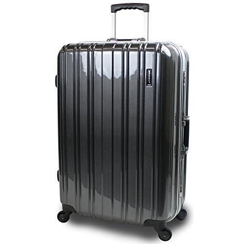 【SUCCESS サクセス】 スーツケース 2サイズ( 大型 76cm / ジャスト型 71cm ) 軽量 安心フレーム TSAロック 搭載 新型 ジェノバPC2015 (大型 Lサイズ(76cm), カーボンブラック)