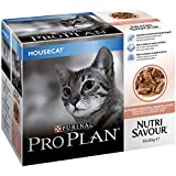 PRO PLAN Cat NutriSavour Housecat Wet Cat Food with Salmon in Gravy 10 x 85 g (Pack of 4)