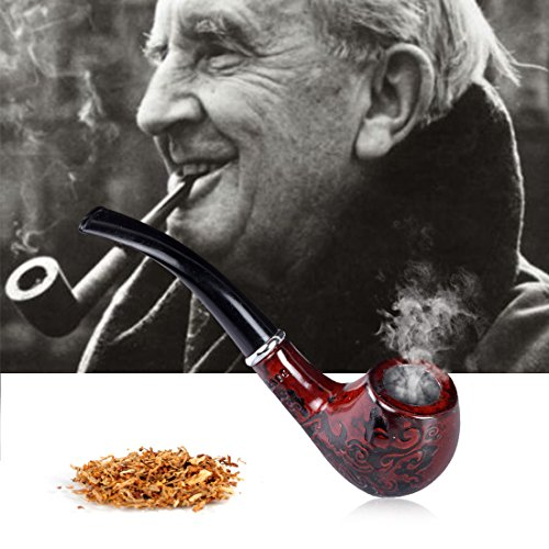 Sinuote Wooden Enchase Smoking Pipe Tobacco Cigarettes Cigar Pipes Collectible
