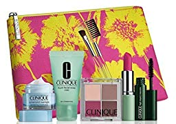 2015 Clinique Makeup Skincare Gift Set (Pink) Turnaround Overnight Moisturizer & More