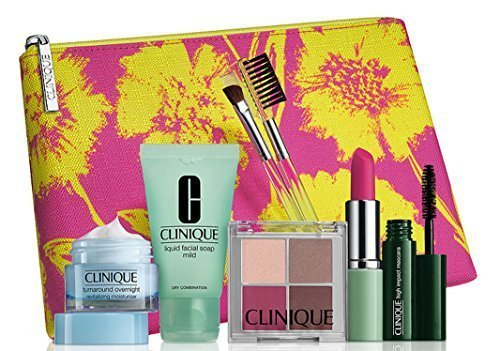 2015 Clinique Makeup Skincare Gift Set (Pink) Turnaround Overnight Moisturizer & More (Chocolate Raspberry Lipstick compare prices)