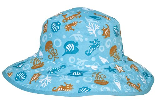 Banz Reversible UV Bucket Sun Hat - Aqua Blue Sea Creatures 0-2y