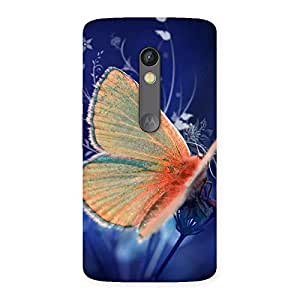 Ajay Enterprises Baterfly with Blue BG Back Case Cover for Moto X Play