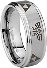 Tungsten Legend of Zelda Silver Step Edges Wedding Engraved Ring  5 8 10 MM  Size 4-15