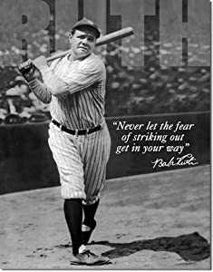 Buy Babe Ruth No Fear Quote Retro Vintage Tin Sign by Poster Revolution