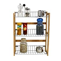 Bamboo Rack Kitchen Shelf for Spices and Condiments 33 x 13 x 42 cm